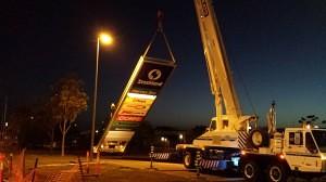 Stocklands pylon install in Hervey Bay